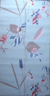 Very stylized bird, flower, leaf motifs. Printed in red, pink, blue and taupe on light blue ground.