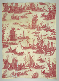 Red and white toile with scenes of small groups engaged in fishing, loading small boats, hauling fishing nets. Buildings include fortresses and towers.