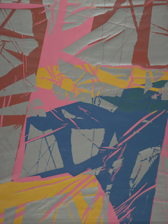 """Non-repeating large scale shapes with """"cracks"""" in blue, grey  and yellow on pink fabric."""