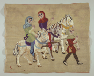 Unfinished embroidery of procession of three medieval men (two on horseback). Variety of stitches used to depict the different textures of chain mail, articles of clothing, facial features, and horses. Wool yarn is white with shades of blue, purple, red, brown, and green on a jute and linen foundations. Red line through the center of selvages.  Graphite lines where work not completed are visible.