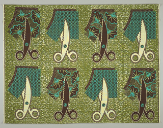 Pinking shears cutting fabric swatches, on a background of wavy lines. Printed in brown, olive green and turquoise on an off-white ground.