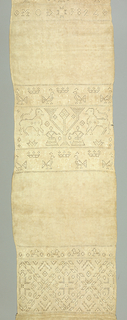 "Long vertical towel of undyed linen with three broad bands of embroidery and drawn work in white linen thread in symmetrical designs. Motifs include: horsemen, floral forms, initials ""M.O.D."" and 1824, lion and a female figure, and geometrical diaper pattern. Deep macramé border at lower end hand stitched onto linen strip. One plain cloth selvage."