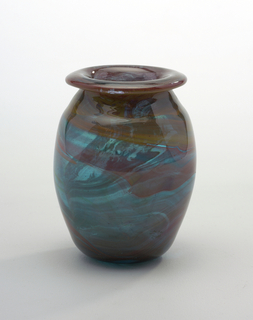 Vase with turned over lip; Glass in burnt orange, ochre, and green
