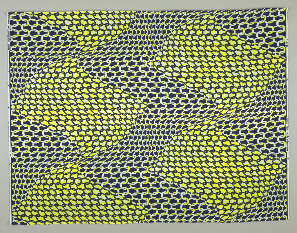 Overall pattern of large-scale knitting. Printed in indigo and acid yellow on a white ground.