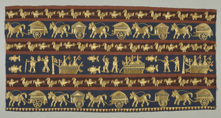 Skirt panel patterned in gold with rows of birds, a row of horses pulling carts, and a row with boats (flying flags), fish, and human figures. Couched gold pattern on top of and within stripes (either wide blue or a group of two tone rust) of the foundation fabric.