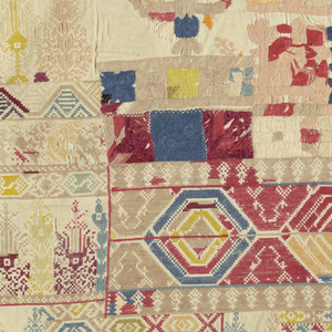 Sampler with many bands of geometric patterns, in purples, blues, greens, yellows, pinks, and reds. One section at the left side is much coarser in quality, and may have been worked by a different hand.