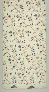 Delicate attenuated pink stems bearing small rose-buds, daisies, carnations, in shades of tan and pink; various small leaves in blue; each stem rising diagonally in continuous somewhat irregular serpentines from small mound in tan and blues. Two and one half mounds in this piece. In satin, herringbone, a little knot stitch. Linen warps; cotton wefts; except for two heavy cotton warps inserted at intervals.