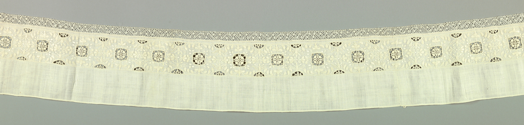 Long narrow border with the lower edge embroidered in a small scale flower design in a symmetrical arrangement. Squares of cutwork with needle lace fillings are at two-inch intervals. Edges of border above and below have circles of cutwork. Lower edge trimmed with narrow bobbin lace.