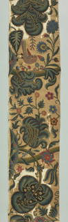 Valance of cream-colored cotton, twill weave, heavily embroidered in polychrome crewels. Design of large leaves, flowers, branches; bird in center. Lined with dark blue cotton.