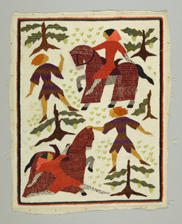 Embroidered landscape scene depicts confrontation between four medieval figures, one mounted on mail-covered horse. Top scene: man on horse faces man on foot. Bottom scene: man dismounted approaches man on foot. Rider in brilliant orange cloak with white and black stockings. The mail-covering of horse in red-brown. Man on foot in brown and purple zigzag patterned medieval tunic with bright yellow stockings. In background, tufts of pale green grass, trees of brown and blue-green and yellow-green. Inner border, black; outer border, orange.