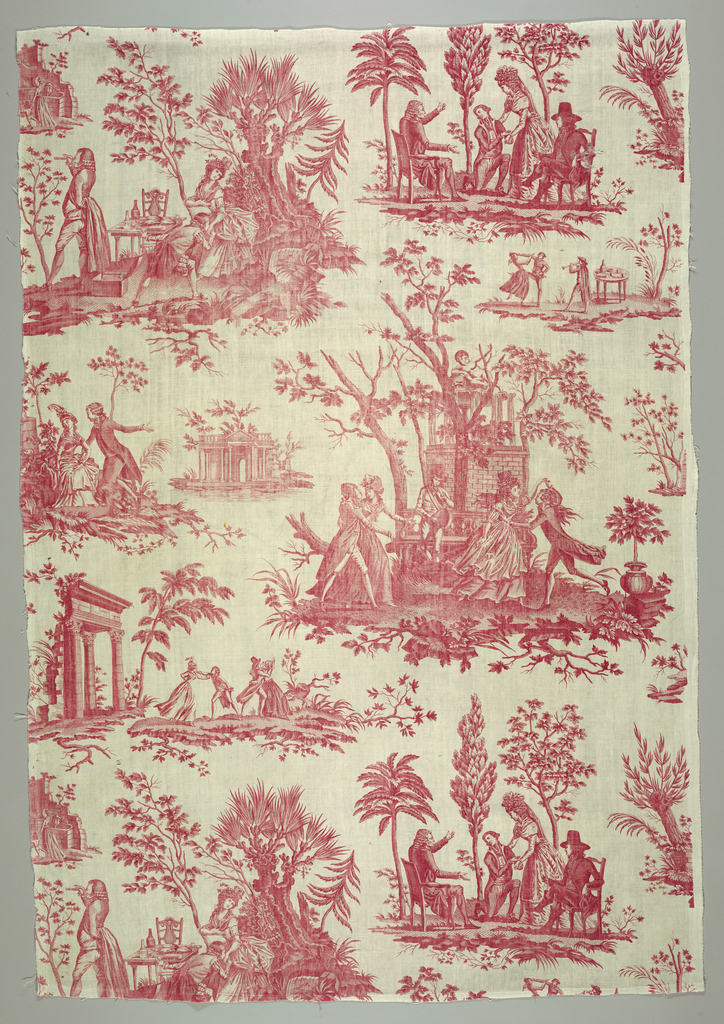 Quilt showing architectural remains and scenes of people dancing and a man wooing a girl. Border of checked red and white ginghams scalloped on three sides and backed with white linen. Printed in red on white.