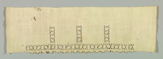 Wide border of linen with narrow insertion of reticella along one side. Pattern connected by brides and interspersed by portes.