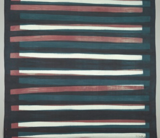 Horizontals in rust red, dark green, black and white.