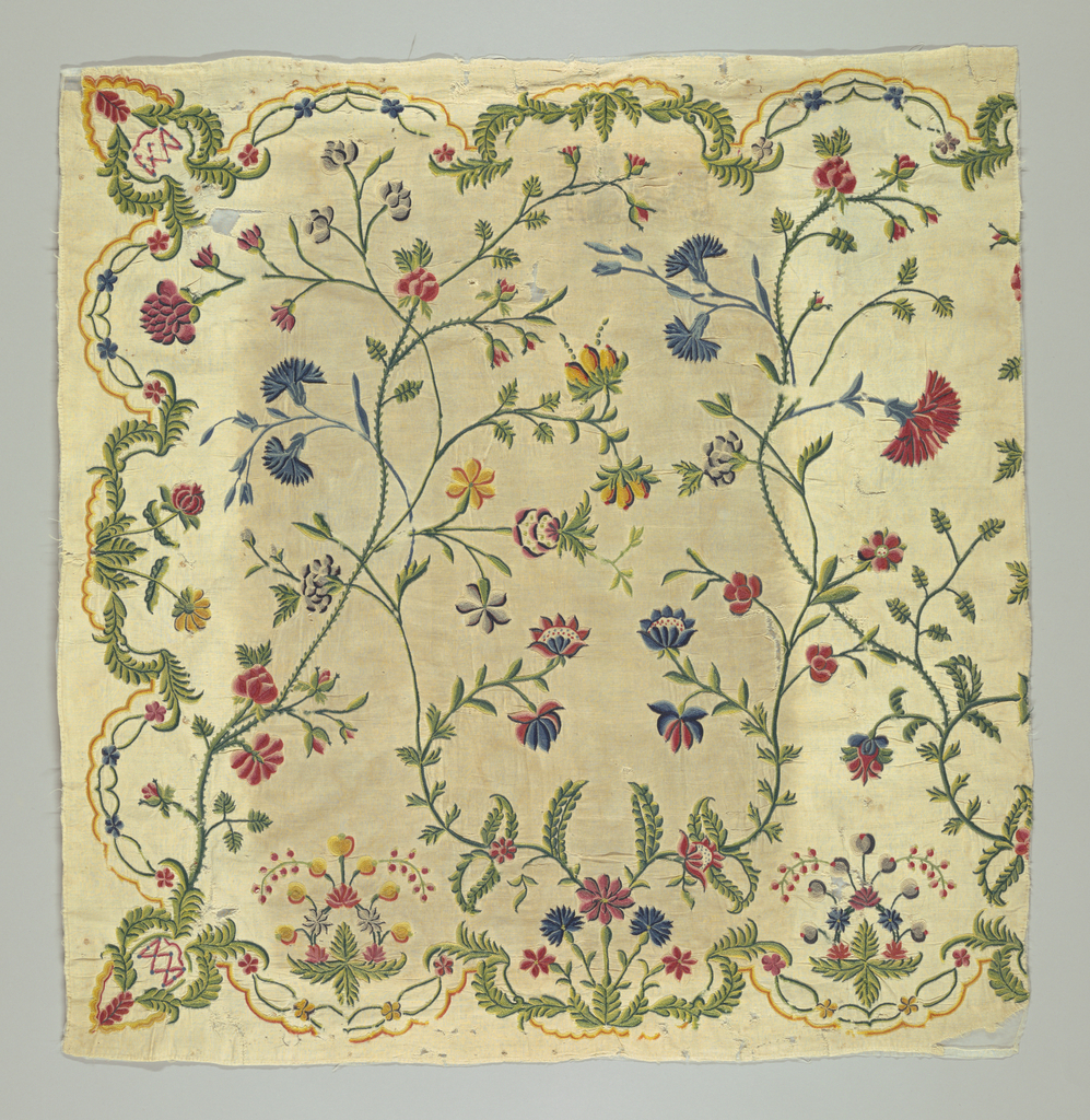 Half of panel for settee seat or back, of undyed cotton cloth embroidered in chainstitch in bright polychrome crewels with long wiry flowering sprays rising from the lower to the top border. Scalloped bordering line in shades of yellow, with symmetrical accenting flower motive set in each scallop; on three sides of panel.