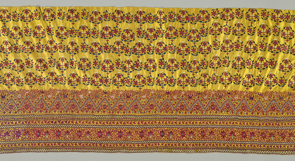 Printed or drawn pattern on yellow satin embroidered in floss silk of a variety of colors embellished with mirrors. Series of borders containing floral vines, blossoms and small animals below a field containing sprigs of flowers in staggered horizontal rows. This was probably part of a tubular skirt.
