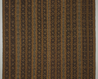 Woven striped sarong in brown, light brown, cream-white, and blue. Embroidered in an all-over pattern of alternating geometric, organic patterned, and plain stripes with mica pieces added.