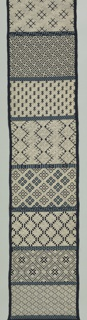 Long narrow panel, width of goods, of dark blue cotton, tabby weave, rather open. Embroidered in white cotton and light blue cotton. Fifteen different sections, each in characteristic Japanese geometric design, separated by narrow bands of geometric border designs worked in blue. Satin and laid satin stitches.