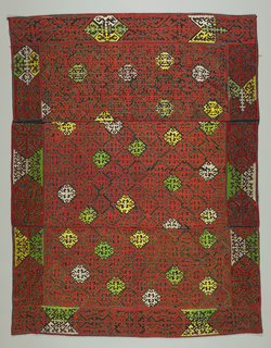 Allover design of lozenges with conventional ornament within a border in similar designs. The design left in relief in black woolen ground is outlined in back stitch. The ground is worked in colored silks of red, green, yellow and white in satin stitch.