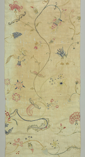 Bedcover with crewel embroidery in various shades of blue, yellow, pink and olive green on a linen ground. Design is similar to English crewel work and shows an East Indian influence. Long delicate center stem has flowers and sprays which extend to form borders.