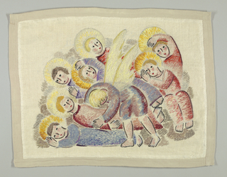 Free-from stitches of shades of blue, pink, yellow, grey, brown, purple and black wool which form the seven sleeping haloed children and winged angel. Chari-stitch outlines many of the forms. Background of bleached linen; grey tape forms border on all four sides.