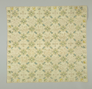 Embroidered square cover: field pattern a square diamond grid enclosing animals (in 3 rows facing alternately left and right) or a flower (used in the 4th row either upright or hanging) narrow outer border of birds using multi-colored silk.