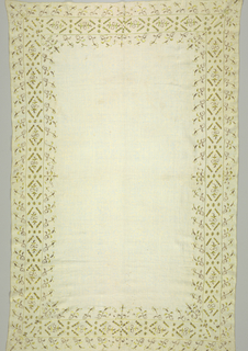 Oblong table cover, fine white linen, with wide borders embroidered in gold and citron-colored silk; pattern, in three borders, of highly stylized flower (lily) and flat bars. Gold is wound on silk core and used straight as thread. Green silk inlaid and satin stitch.