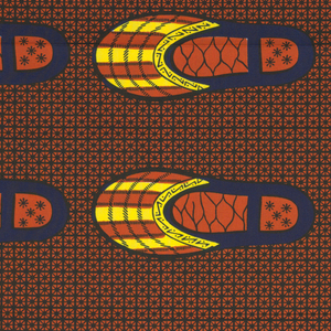Pairs of slippers on a lattice background or one speckled with small hooked lines. Printed in indigo, yellow and orange on a white ground.