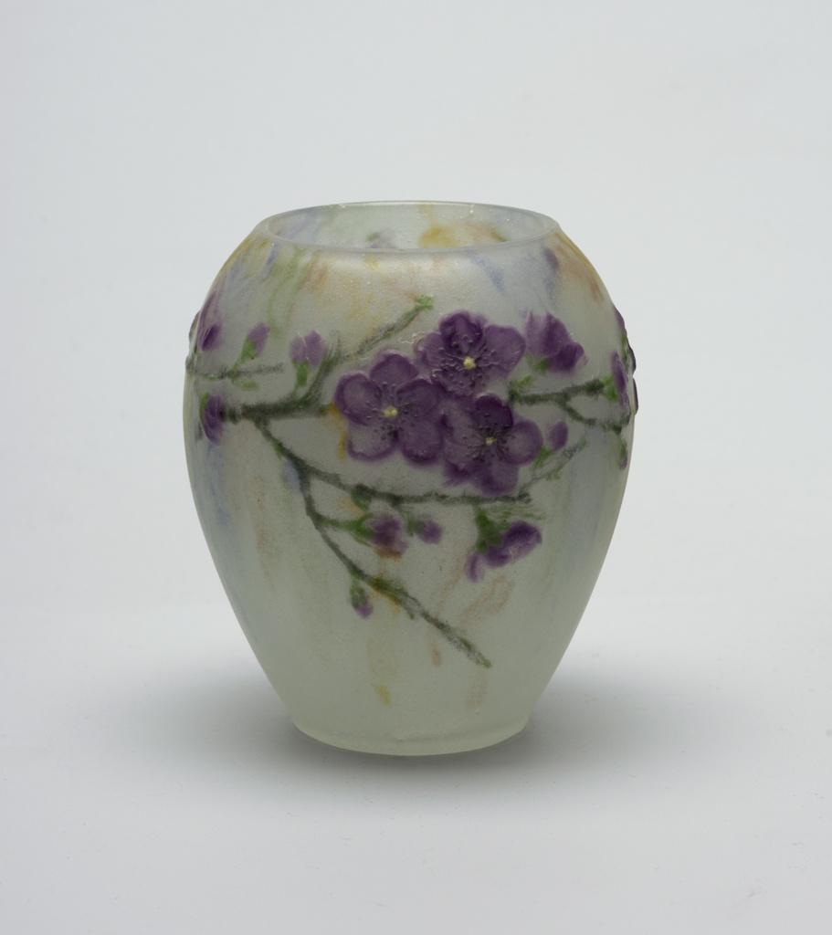 pate-de-verre, purple flowers