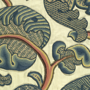 Large panel of cream colored cotton embroidered in wool yarns in a large, dynamic pattern of vines and leaves in blues and greens. Each face of the twisted leaves has a different filling stitch.