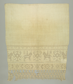 Towel end with a wide band showing men on horseback alternating with a styled vase form with side scrolls. Above is a narrow band with the year 1821. At bottom is a narrow band with geometric decoration and braided fringe.