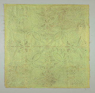 Lace pattern, in parts inked, in other parts shown in pencil on glazed green cotton. Pattern intended to be used for making of Honiton and Battenburg tape lace.