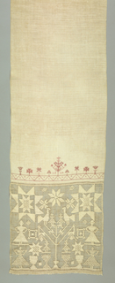 Towel cover ornamented with two cross borders in zigzag lines with stars. One border topped with a row of conventialized trees worked in cross stitch. Two open seams with embroidery. Band of drawnwork showing people, birds in a tee. Flowers and stars in darning stitch. Remains of fringe at top and bottom.
