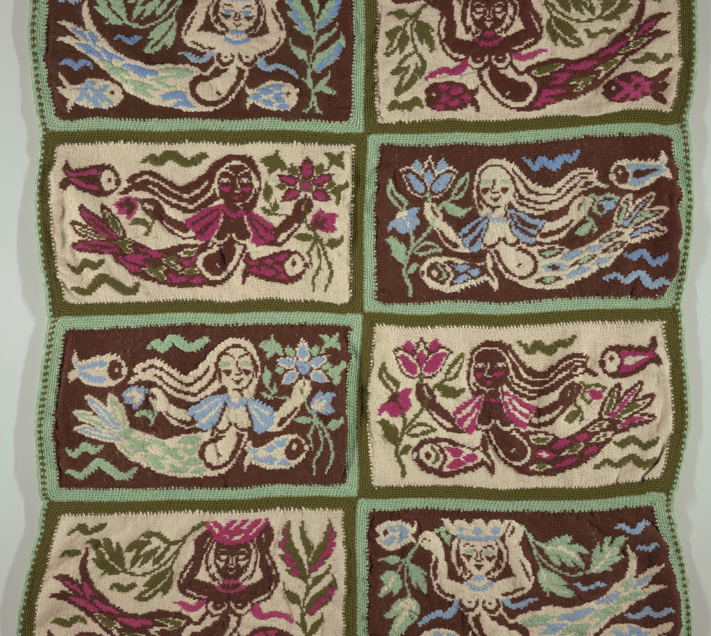 """Knitted hanging of eight knitted rectangles with crocheted edges, crocheted together. Outer edges crocheted to a linen backing; central motif of each rectangle: mermaid with fish. Four different poses, each repeated twice. Four rectangles in beige, olive-green, dark brown and cerise. Other four rectangles in light blue, light green and beige. Each rectangle: 12"""" x 23""""."""