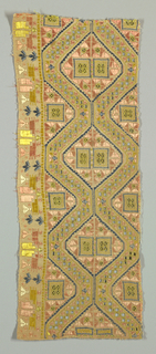 Linen border fragment with silk embroidery and withdrawn elements showing two wide serpentine lines that form diamonds. Both lines have needlemade filling stitches and embroidered decoration. Each diamond is filled with two small rectangles that are embellished with needle made filling stitches. Remaining surface area is decorated with geometric embroidery in blue, pink, yellow and white.