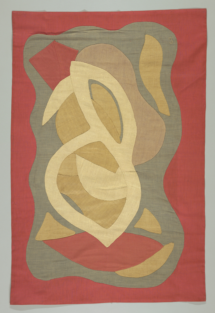 Applique of amorphous shapes in beige, grey and rust.