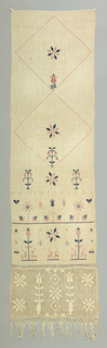 """Towel cover embroidered in design of crossing diagonal lines enclosing flowers is above cross borders with initials """"B.S."""" The date, flowers, paired birds and animals worked in cross stitch. At the bottom is a band of drawnwork ornamented with flowers in darned and overcasting stitches. Edged with cotton fringe."""
