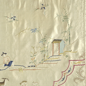 Horizontal panel of white satin embroidered with polychrome silk. Design is outlined with a double border of red lines enclosing floral motifs. Design of figures and house in the landscape. At left is a shepherd watching kids. In the center, a fisherman with a net fishes from a building over the water. At right a shepherd watches goats and kids.