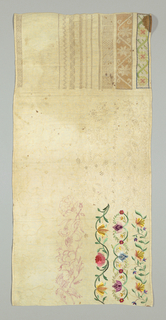 Unfinished with columns of polychrome floral bands, whitework bands, and withdrawn element work. One band has been drawn in red ink.