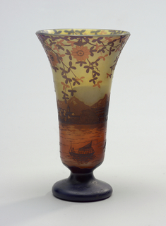 Footed Vase with pu4eple and amber seascape.