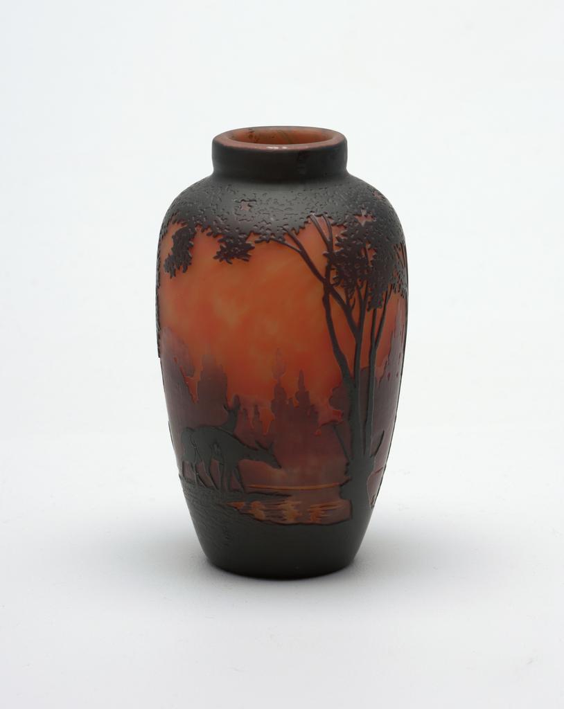 red, amber, deer Vase