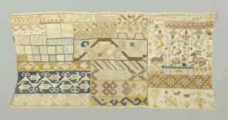 Bands of pattern in solid embroidery and in withdrawn element work, with spot motifs, in many colors on a white ground.