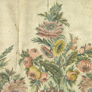 Deep horizontal panel of white silk with a design of double zigzag lines alternating horizontally with a row of lozenges. Multicolored silk embroidery, metallic thread and flat metal strips in a massive design of large-scale realistically rendered flowers and foliage combined with ornamental scrolls and other decorative motifs. Backed with tan linen. Band of red taffeta at top.