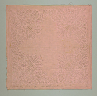 Square printed lace pattern for premade tape lace. Printed in black on fadded pink.