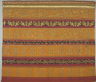 "Cotton panel with alternating stripes of varying widths in orange, red, and black. At one end heavily embroidered in metallic thread and small ""tumpal"" motif (row of isosceles triangles) at border. Showing stylized animal and floral motifs."