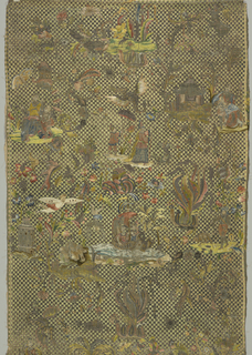 Long panel, solidly worked with silk and metal embroidery on a dark green linen ground, backed with white linen.  The background of the embroidery is a lattice pattern with strips of paper under the silk to give a relief effect.  The Chinoiserie-style motifs include flowers, birds, architectural elements and figures.