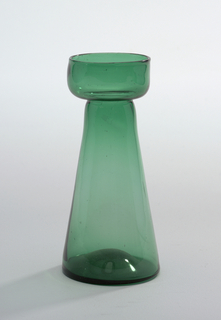 Tall cylindrical body tapering towards neck, wide flat lip with turned-up rim; green glass. Hyacinth