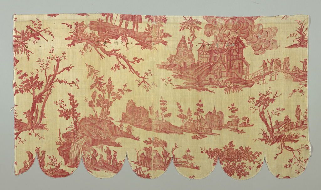 """Le Seigneur de Village"". Vignettes with country scenes, one with trees growing on rocks and a waterfall, another with a barn on fire. Printed in red on white."