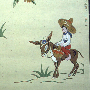 Mexican motif of two dancers, a guitarist, boy on a mule, and a hat with a Mexican scarf in bright colors of red, blue, green, white, and brown on a pale yellow ground.