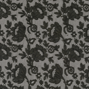 Scarf in a dense Chantilly-type pattern of flowers and sprigs with a scalloped border of scrolls and leaves.