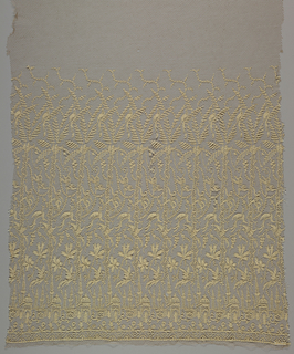 Openwork panel intended for a dress with a border at the bottom. Design consists of a tall palm tree with bird perched in the top branches, a monkey climbing among hanging tree vines, birds in lower branches, and Eastern-style buildings at base of tree. Floral band at the bottom.